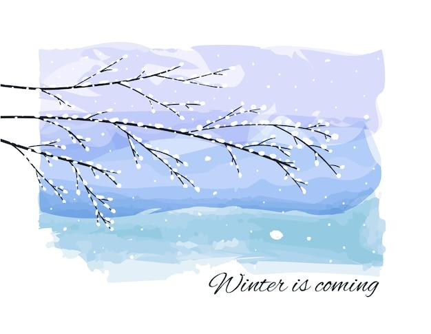 Fundo de inverno com galhos de árvores congeladas cobertas de neve, queda de neve no pano de fundo aquarela.