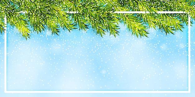 Fundo de inverno com galhos de árvores de natal e queda de neve