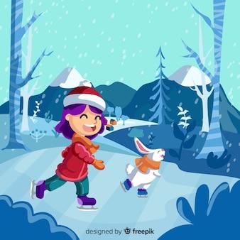 Fundo de inverno com linda garota e coelho patinando