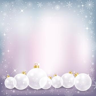 Fundo de inverno com lindas bolas e flocos de neve de chritsmas,