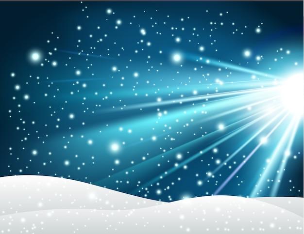 Fundo de inverno com luz azul brilhante