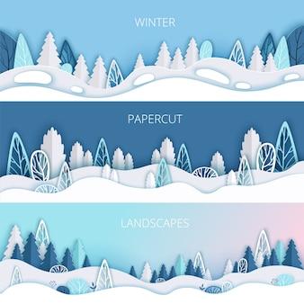Fundo de inverno com nevascas, árvores e arbustos recortados em papel.