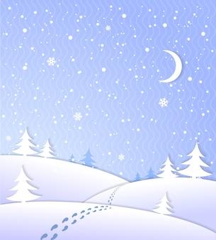 Fundo de inverno com neve caindo