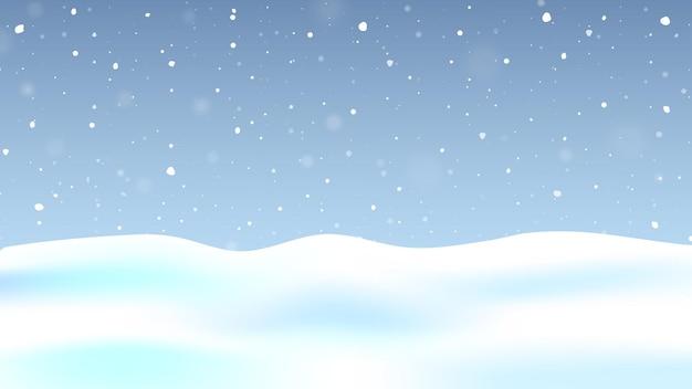 Fundo de inverno com neve caindo.