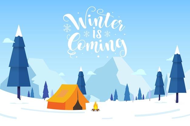 Fundo de inverno com o inverno está chegando texto