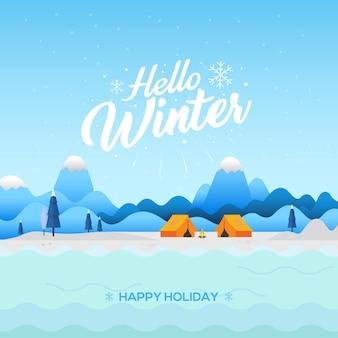 Fundo de inverno com texto olá inverno