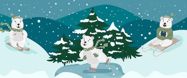 Fundo de inverno com ursos um está esquiando, outro está andando de trenó o terceiro está patinando no gelo