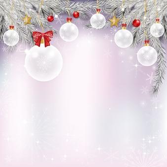Fundo de inverno com várias bolas vermelhas e brancas de chritsmas, estrelas douradas e flocos de neve