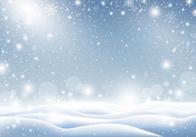 Fundo de inverno de queda de neve design de cartão de natal