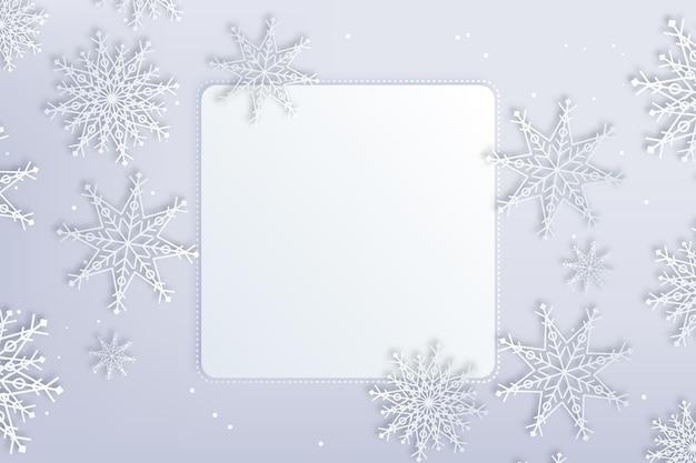 Fundo de inverno do espaço de cópia quadrada em estilo de papel e neve