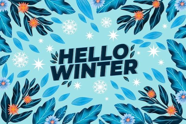 Fundo de inverno em design plano