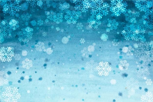 Fundo de inverno em estilo aquarela com flocos de neve