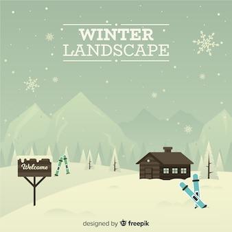 Fundo de inverno estação de esqui vintage