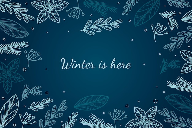 Fundo de inverno estilo desenhado à mão