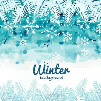Fundo de inverno linda aguarela