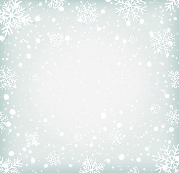 Fundo de inverno simples com flocos de neve.