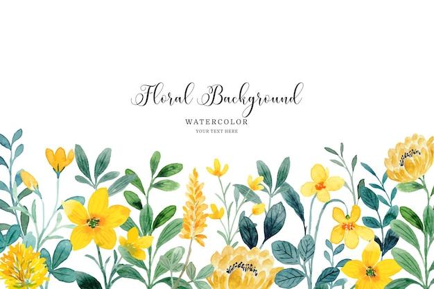 Fundo de jardim de flores amarelas em aquarela