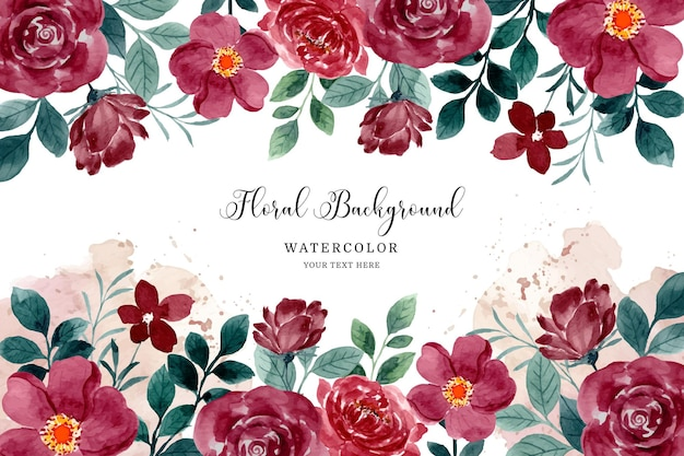 Fundo de jardim de flores em aquarela de rosa vermelha