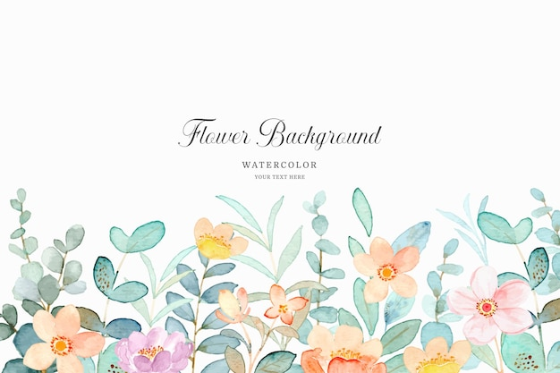 Fundo de jardim floral com aquarela