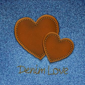 Fundo de jeans com corações.