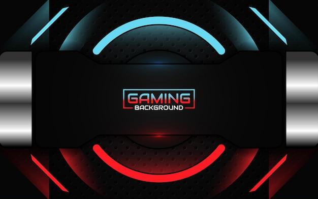 Fundo de jogo abstrato futurista de luz vermelha e azul