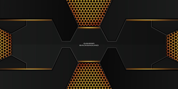Fundo de jogo de ouro escuro com padrão de hexágono