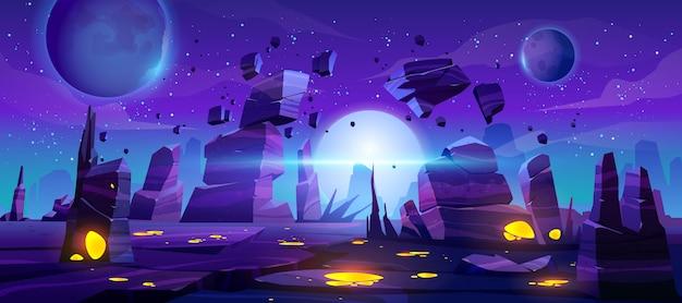 Fundo de jogo espacial, paisagem alienígena de noite de néon