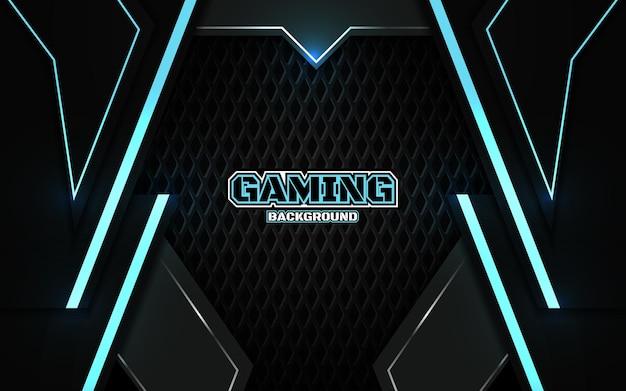 Fundo de jogo futurista abstrato em preto e azul