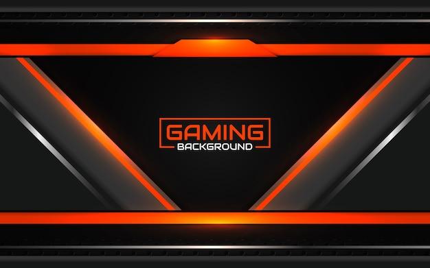 Fundo de jogo futurista abstrato em preto e laranja
