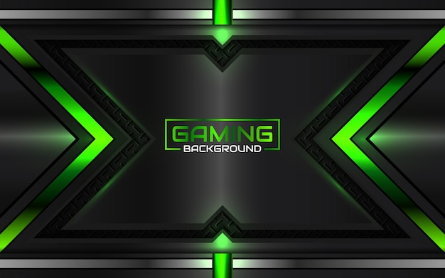 Fundo de jogo futurista abstrato em preto e verde