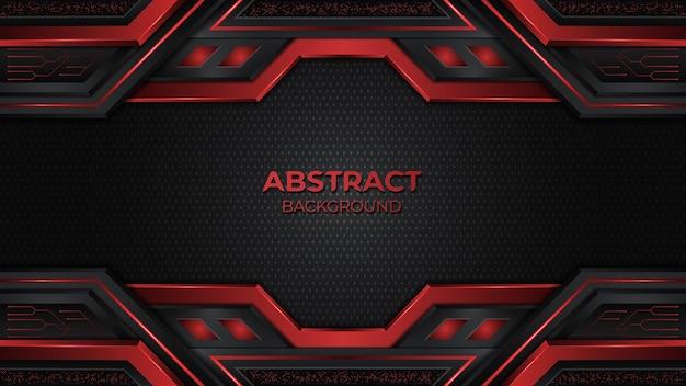 Fundo de jogo geométrico premium preto e vermelho abstrato