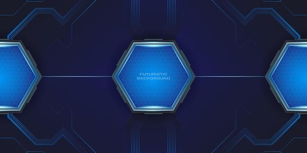 Fundo de jogo moderno e futurista com botão hexagonal