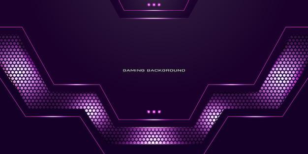 Fundo de jogo neon roxo com padrão de hexágono