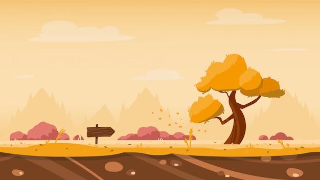 Fundo de jogo outono com árvore e flecha