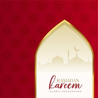 Fundo de kareem ramadã islâmica vermelho com porta de mesquita