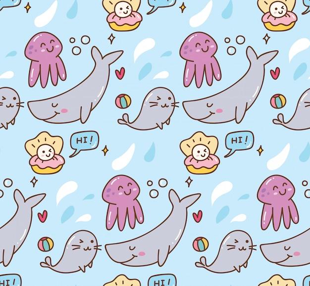 Fundo de kawaii de animais do mar