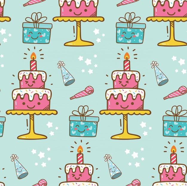 Fundo de kawaii de bolo de aniversário