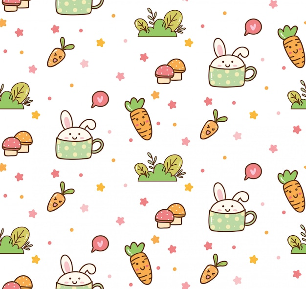 Fundo de kawaii de coelho de primavera