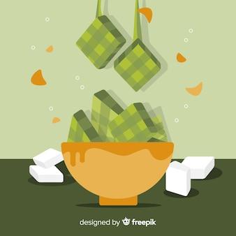 Fundo de ketupat em design plano