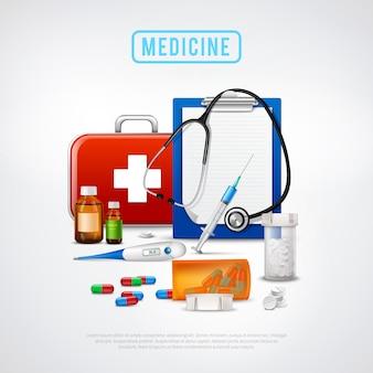 Fundo de kit de ferramentas médicas