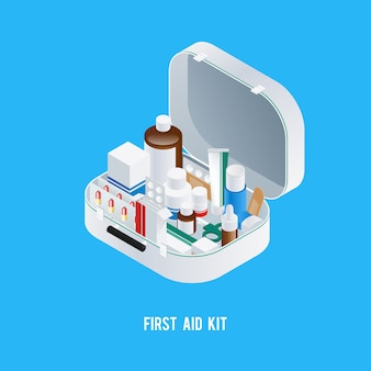 Fundo de kit de primeiros socorros
