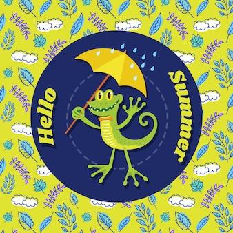 Fundo de lagarto bonito dos desenhos animados de verão com doodle padrão