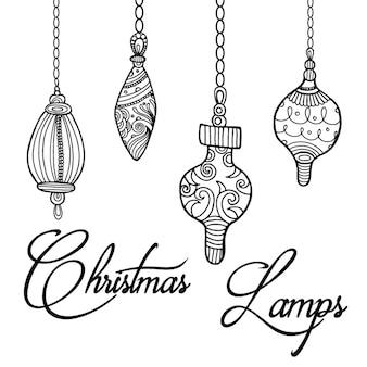 Fundo de lâmpadas de natal desenhadas à mão