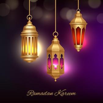 Fundo de lâmpadas islâmicas. lanternas árabes do patrimônio com ilustração do conceito do ramadã da religião do efeito de brilho bonito.