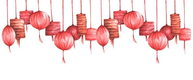 Fundo de lanterna chinesa de tradição aquarela com espaço de cópia.