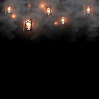 Fundo de lanterna do ramadã