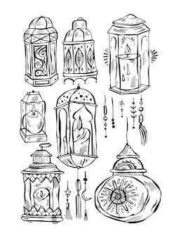 Fundo de lanternas desenhadas à mão