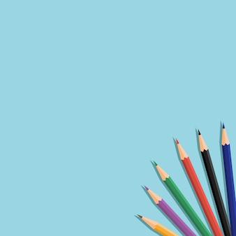 Fundo de lápis de cor escola