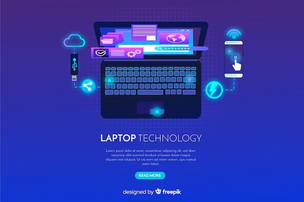 Fundo de laptop gradiente vista superior