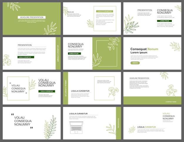 Fundo de layout de apresentação e slide modelo de design de folhas verdes use para apresentação de negócios